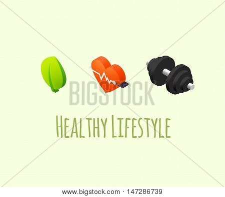 Healthy lifestyle icons - cardio fitness, fresh eating and strenght exercises vector illustration