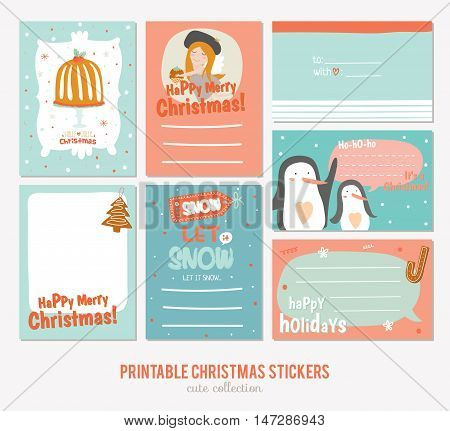 Collection of Cute Vector Journaling Cards, Notes, Stickers, Labels, Tags with Winter Christmas Illustrations and Wishes. Template for New 2017 Year Greeting Scrapbooking, Congratulations, Invitations poster