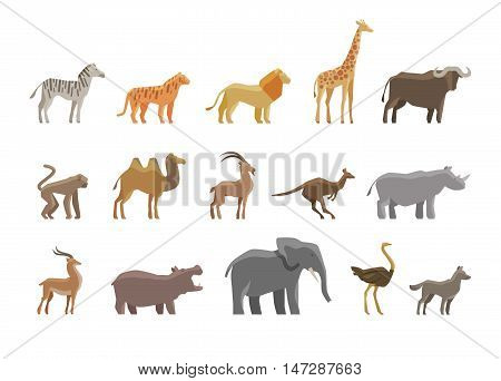 Animals. Set colored icons and symbols. vector illustration