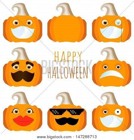 set of pumpkins, the smiles of the pumpkins stickers Halloween