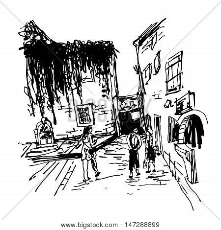 black and white sketching of old building with clambering plant and people walking in old town Budva Montenegro, travel vector illustration