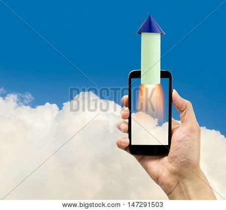rocket launching from smartphone. Start up business concept for mobile app development or other disruptive digital business ideas and connection speed