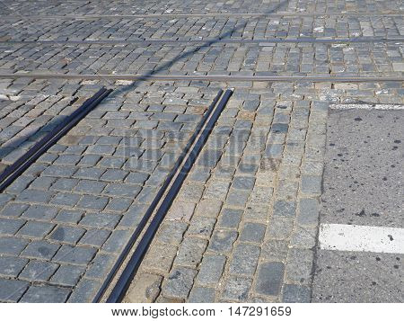 Tram Lines Crossing On Cobbles