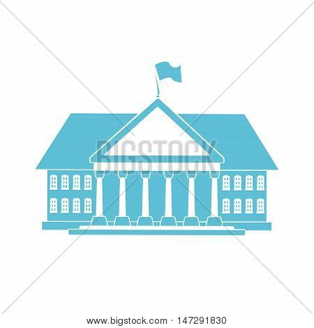Blue government building shape for your official serious card design. Flat icon or logo depicting the White House or some other congress building for executive and legislative branch of power.