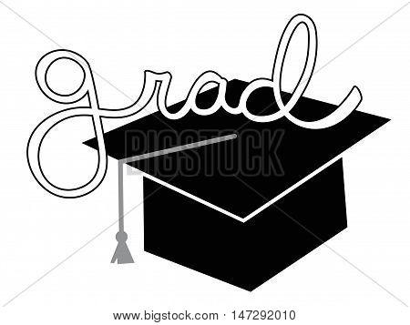 Isolated Black Grad Graduate Cap and Tassel
