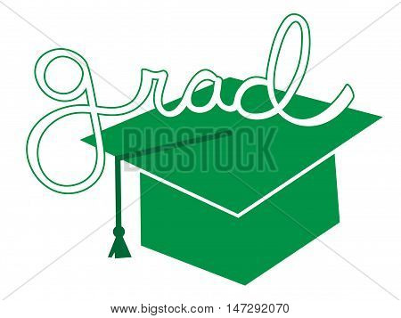 Isolated Green Grad Graduate Cap and Tassel