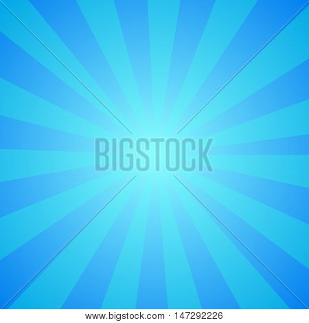 Bright abstract blue cartoon background with repeated stripes around the center imitating whirlpool. Retro circus tent wallpaper. Perfect sunny design with vibrant colors for comics party posters.
