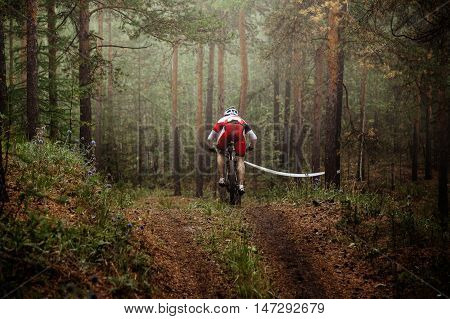 rider mountain bike riding autumn forest in fog. competitions on mountainbike