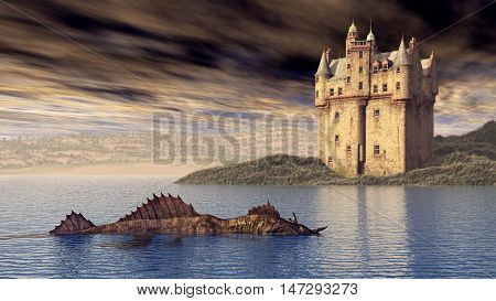 Computer generated 3D illustration with Loch Ness Monster and Scottish Castle