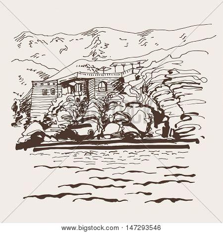 original sepia sketch drawing of Sveti Stefan island in Montenegro, Balkans, Adriatic sea, Europe, travel vector illustration