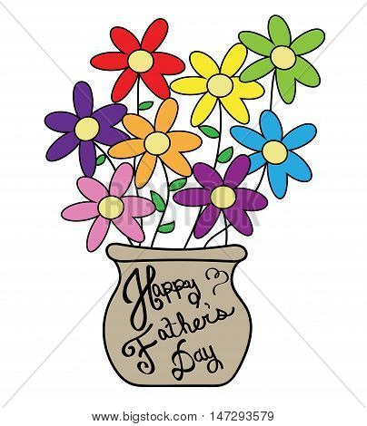 Happy Fathers Day Colorful Daisy Flower Pot