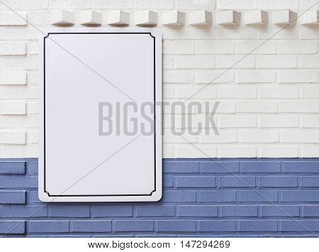 Blank Menu Signage poster template on wall Shop cafe Restaurant