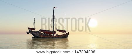 Computer generated 3D illustration with a Chinese junk ship at anchor at sunset