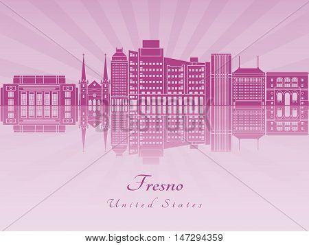 Fresno skyline in purple radiant orchid in editable vector file