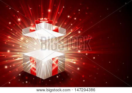 Open gift box with shining exploding firework from glitter; For theme of christmas new year birthday gifts; Vector Background Eps10
