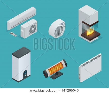 Home climate equipment isometric icon set fireplace, Convector Heater, electric heater, Infrared heater, Boiler, air conditioner. Vector