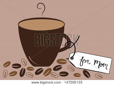 Hot Coffee Beans Mocha Latte For Mom