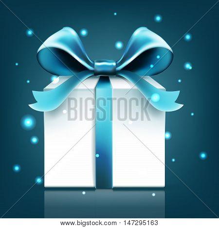 gift blue ribbon bow vector snow abstract, illustration, shape, christmas, celebration, xmas