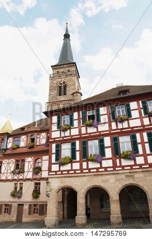 The church of Saint Johannes and Saint Martin Schwabach Bavaria Germany. Beautiful place. Travel destination. Vertical composition.