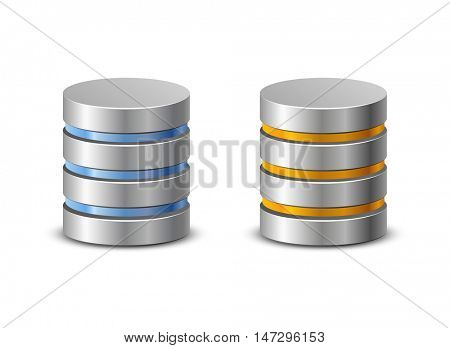 Database icons. Network backup icons. Vector illustration of hard disk symbols