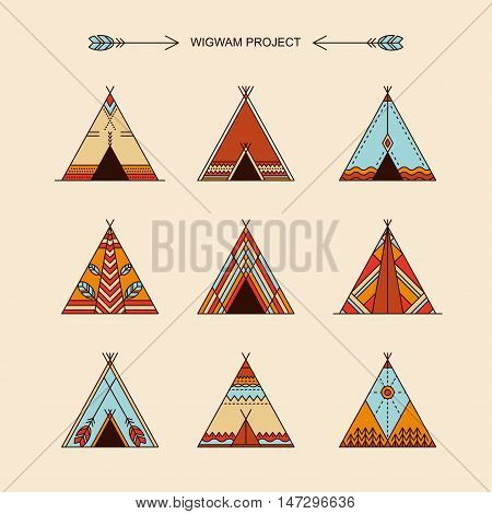 Wigwams with ornamental elements. Line style. Boho elements. Vector illustration