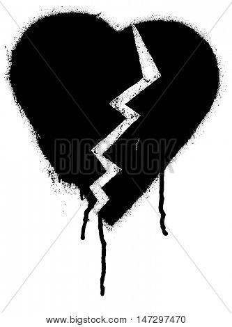 Broken heart shape. Black paint graffiti vector illustration