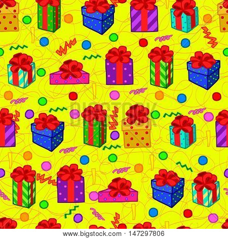 vector Gift love bithday colorful seamless pattern