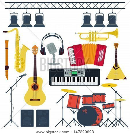 Vector Set Wind and String Musical Instruments Isolated. All elements are grouped and easily editable