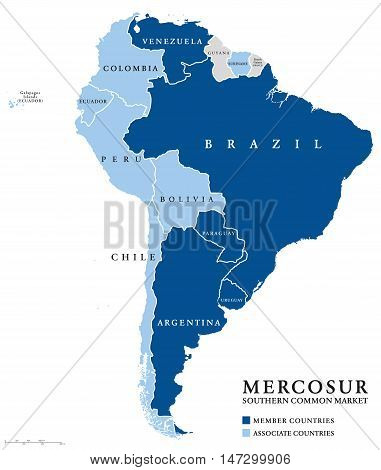MERCOSUR Southern Common Market countries info map, also Mercosul. Free trade bloc with members Argentina, Brazil, Paraguay, Uruguay, Venezuela and associate countries. English labeling. Illustration. poster