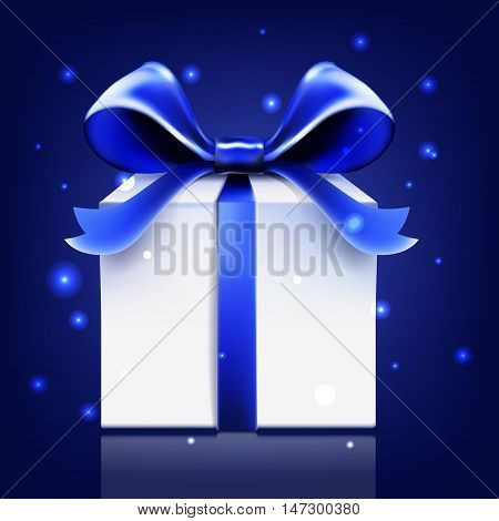 gift blue ribbon bow vector snow greeting, gift, decoration, banner, cold