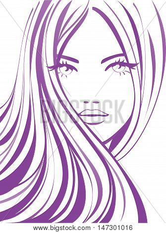 Vector girl with long hick hair. Hairstyle icon