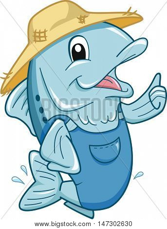 Mascot Illustration of a Fish in Jumper and Straw Hat Giving a Thumbs Up