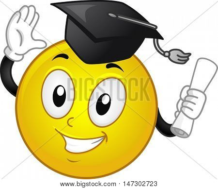 Mascot Illustration of a Happy Smiley in a Graduation Cap Clasping His Diploma