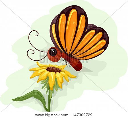 Whimsical Animal Illustration of a Yellow Butterfly Fluttering Above a Sunflower