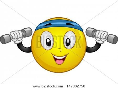 Mascot Illustration of an Energetic Smiley Wearing a Sporty Headband Lifting Dumbbells