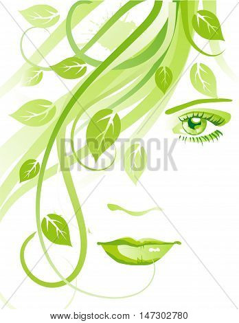 Girl with leaves. Abstract female face with green grass and leaves. Natural beauty