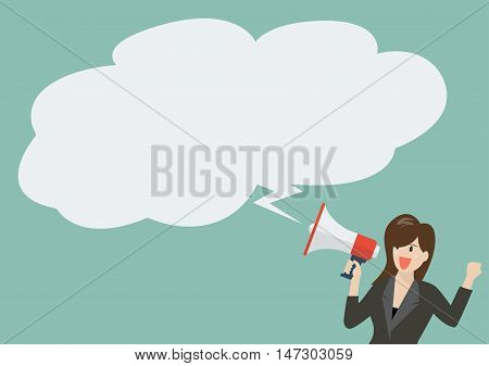 Business woman holding a megaphone with bubble word. Vector Illustration