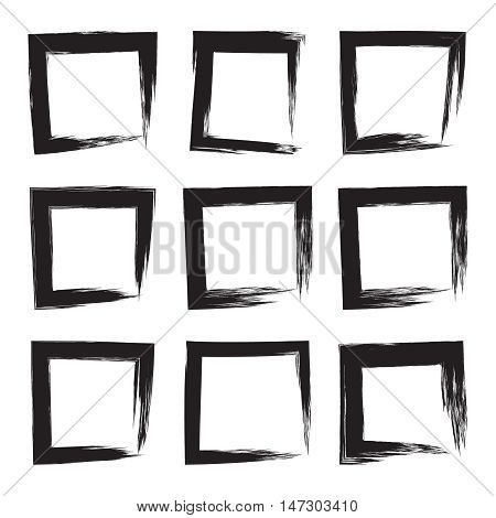 Set hand drawn square, photo, foto frame. Text box from black smears. Vector Black stroke border