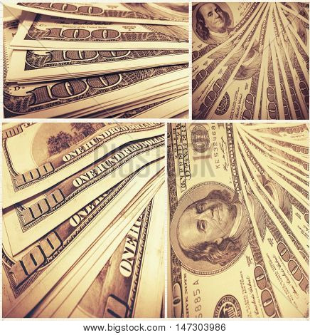 Background with money american hundred dollar bills, set of composition