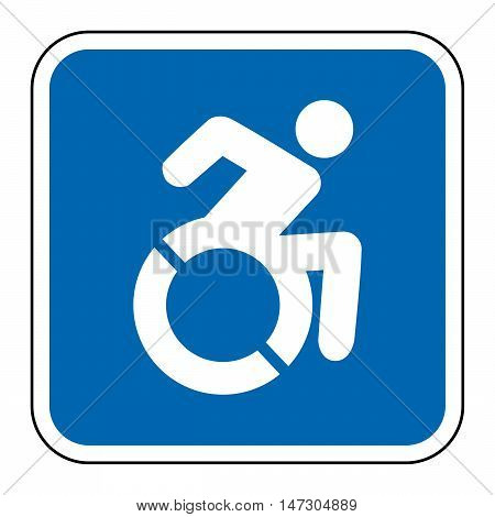 Blue square handicapped sign with wheelchair, modified in New York state