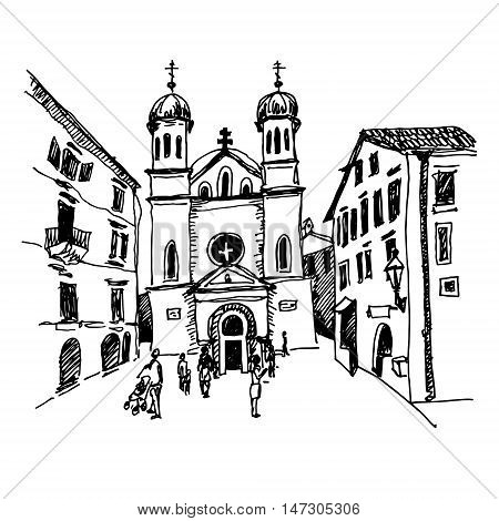 original black and white sketch drawing of Church of Saint Tryphon in Kotor Montenegro, world heritage site of UNESCO, travel postcard vector illustration
