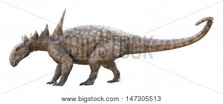 3D rendering of Sauropelta being cautious, isolated on white background.