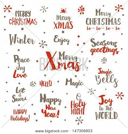 Merry Christmas Lettering Design Set. Vector illustration. Typography greetings collection for Xmas holidays and New Year.