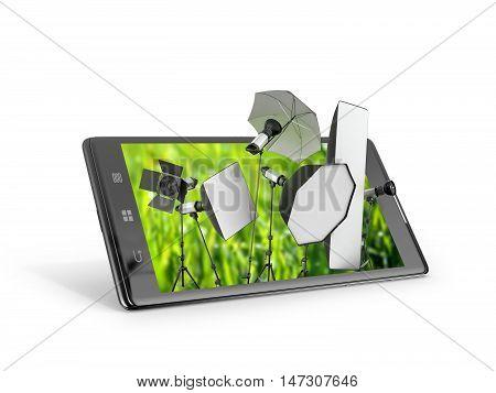Photo studio concept studio equipment available on the smartphone display. 3D illustration