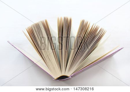 open book in a pink hardcover and many pages stands on a light background / knowledge source