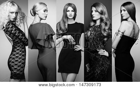Fashion collage. Group of beautiful young women. Sensual girls posing in studio. Lady in elegant dresses. Black and White