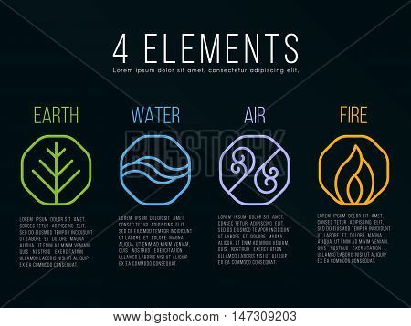 Nature 4 elements in octagon icon border sign. Water Fire Earth Air. on dark background.