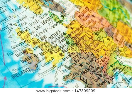 map Netherlands Belgium Great Britain . Close-up image of Dutch map . Selective focus
