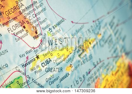 Map Cuba and Florida close-up macro image of Cuban map . Selective focus