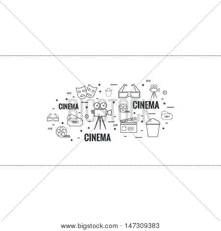 Abstract background with popcorn,  camera, film reel, clapboard, mask, 3D glasses and  tickets. The concept of cinema and watching  movie. Layout, flyer, poster for announcement. thin line.